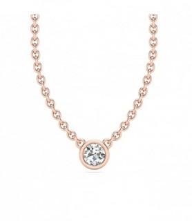 Pendentif solitaire diamant Or rose 18 carats 0