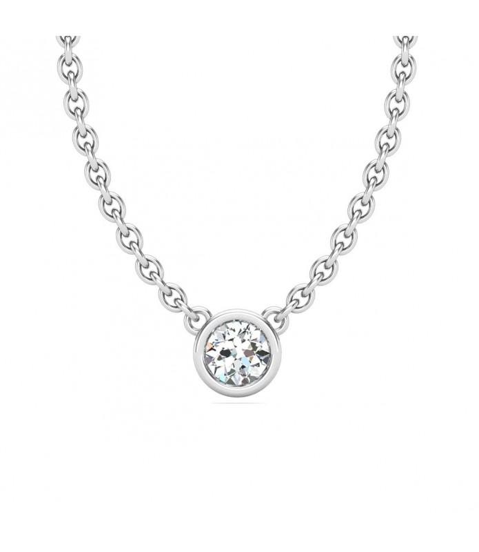 Pendentif solitaire diamant Or blanc 18 carats 0