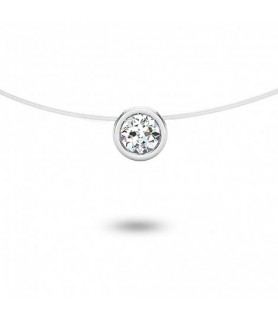 pendentif solitaire diamant clos Or blanc 18 carats 0