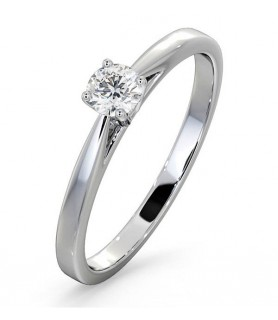 Solitaire diamant Or blanc 18 carats