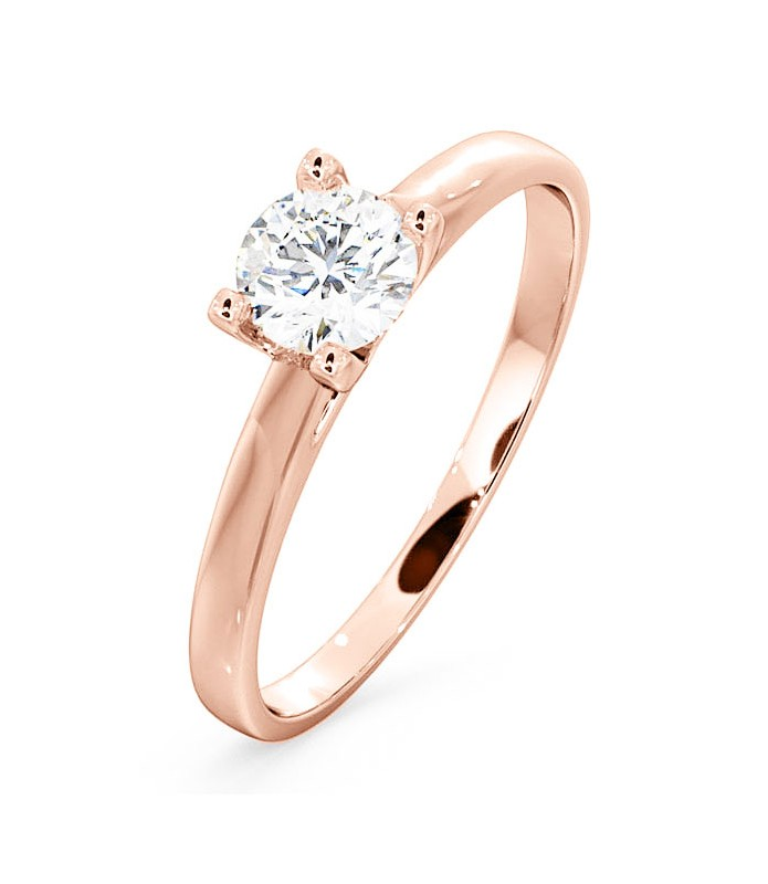 Solitaire diamant Or rose 18 carats
