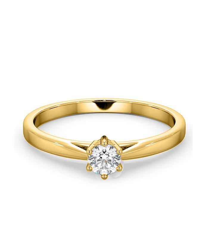 Solitaire diamant 6 griffes Or jaune 18 carats
