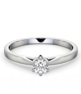 Solitaire diamant 6 griffes Or blanc 18 carats