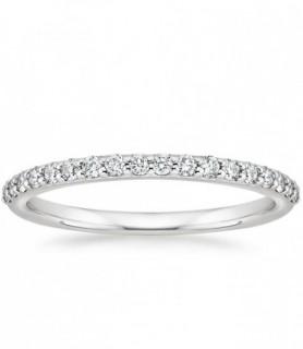 Alliance diamant demi tour Or blanc
