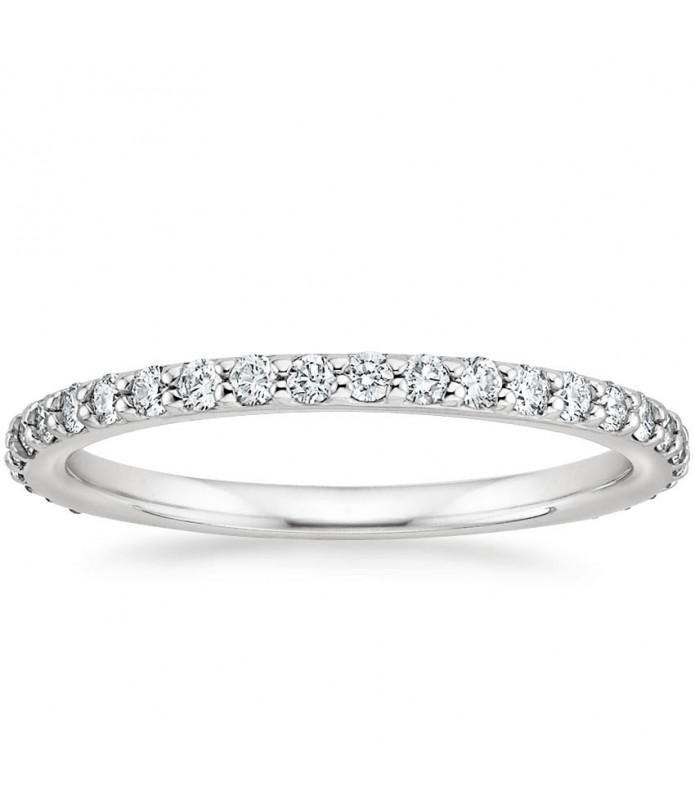 Alliance diamant trois quarts tour Or blanc