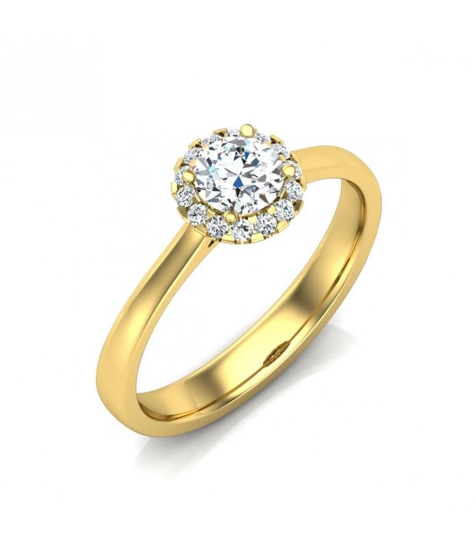 Solitaire diamant Or jaune 18 carats 0.20 carat