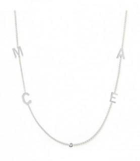 Collier initiale diamant Or blanc