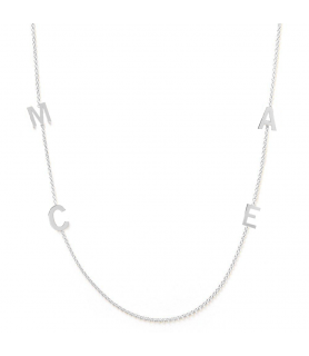 Collier initiales 4 or blanc