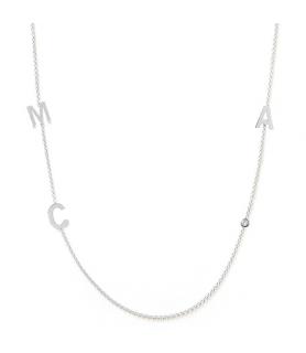 Collier initiales 3 or blanc et diamant