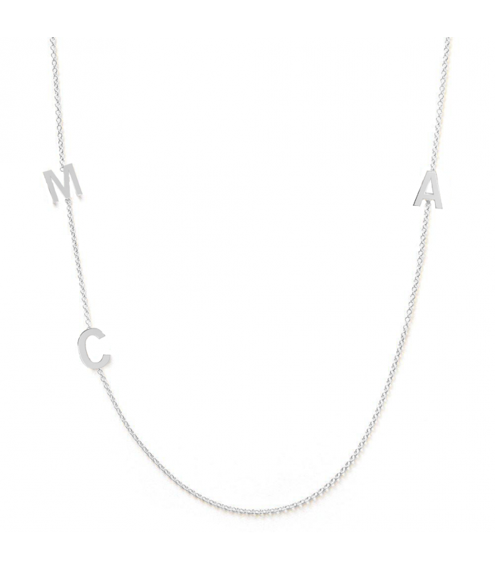 Collier initiales 3 or blanc