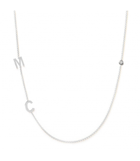 Collier initiales 2 or blanc et diamant