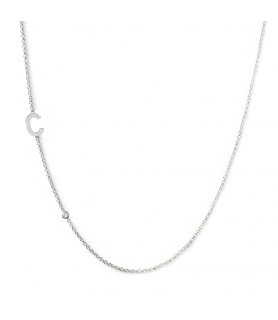 Collier initiales or blanc et diamant