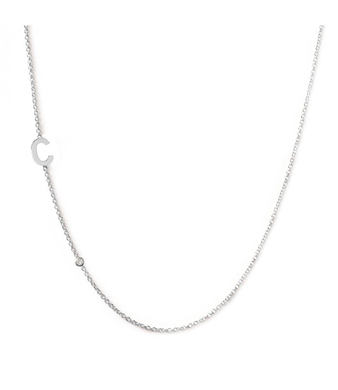 Collier initiales or blanc et diamant