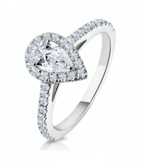 Solitaire diamant entourage Or blanc